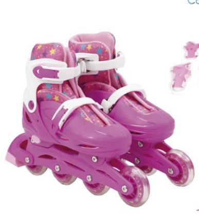 Patins Infantil 4 rodas In-Line  Urbano Roller Rosa com Estrelas 36-39 BBR