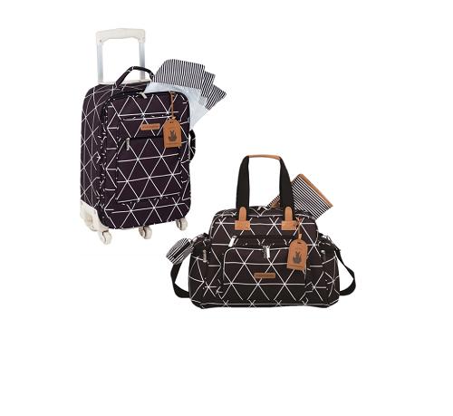 Kit mala de rodinha com bolsa de maternidade Manhattan Preta - Masterbag Baby