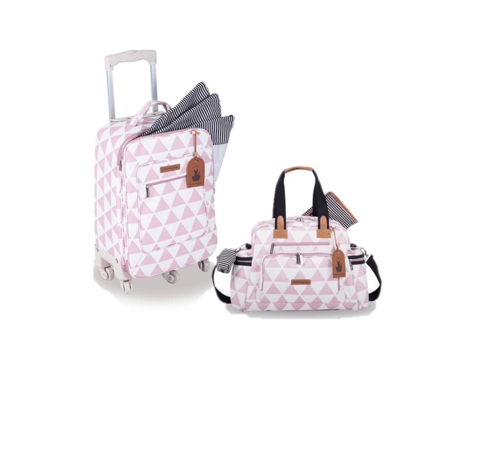 Kit mala de rodinha com bolsa de maternidade Manhattan Rosa - Masterbag Baby