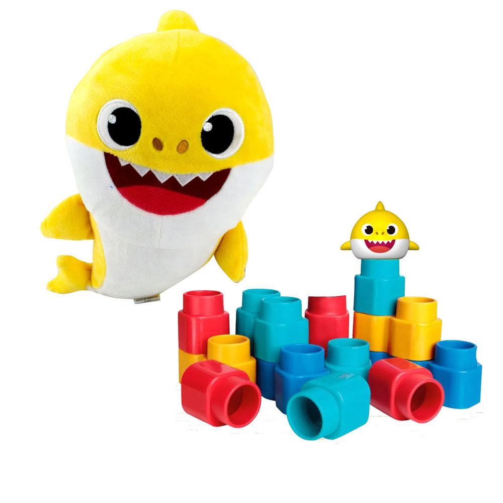 Kit de Blocos de Montar - Fofo Blocos - Baby Shark e Pelúcia Musical - 30 Cm - Baby Shark - Sunny