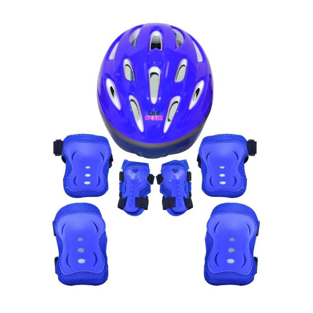Conjunto de Proteção Radical - 3 Peças Com Capacete - Azul - Bel fix - M