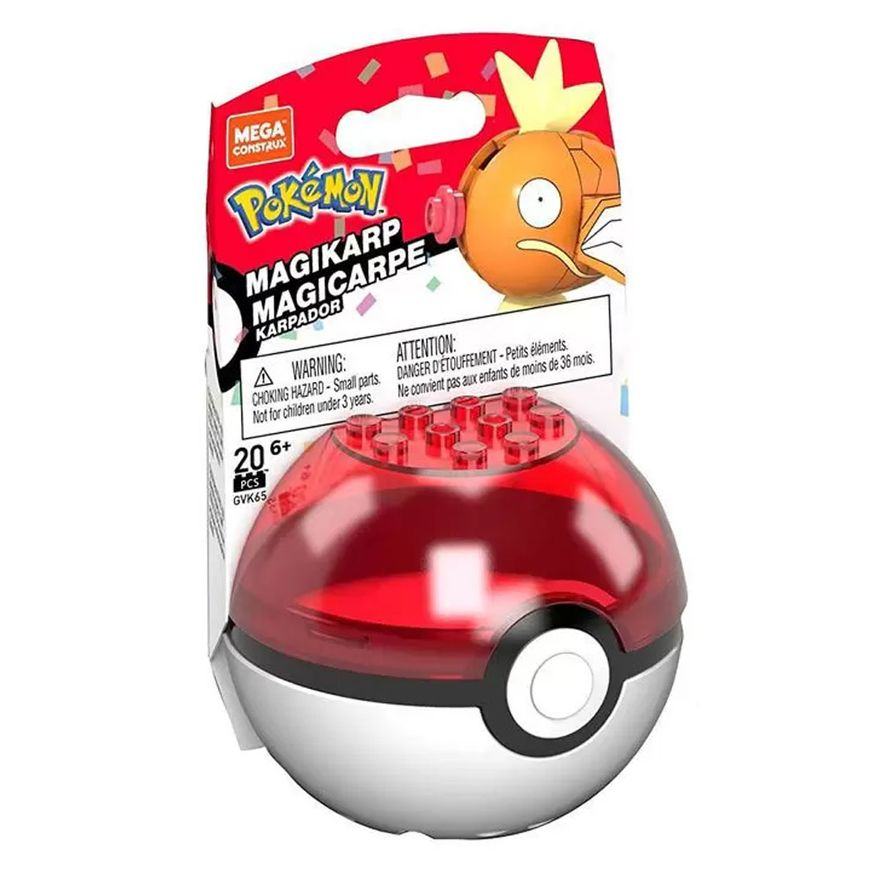 Blocos-de-Montar---Mega-Construx---Pokemon---Pokebola-com-Magicarpe---Mattel_Frente