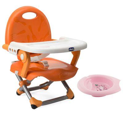 Kit-de-Pocket-Assento-Elevatorio---Pocket-Snack---Mandarino-e-Bowl-de-Alimentacao-Rosa---Chicco