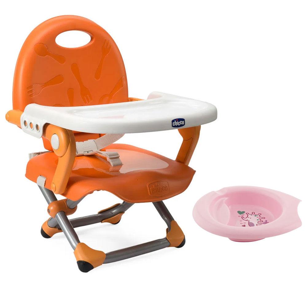 Kit de Pocket Assento Elevatório - Pocket Snack - Mandarino e Bowl de Alimentação Rosa - Chicco