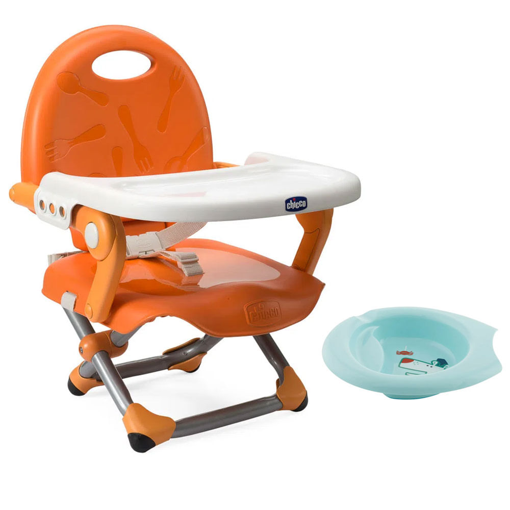 Kit de Pocket Assento Elevatório - Pocket Snack - Mandarino e Bowl de Alimentação Azul - Chicco