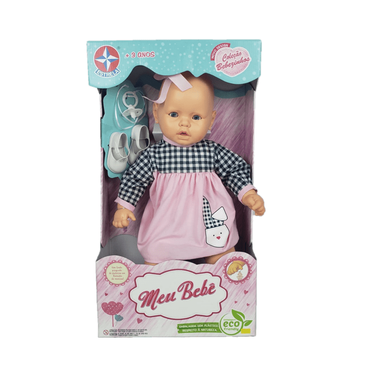 Boneca Meu Bebê Branco - Vestido Xadrez e Rosa - Estrela