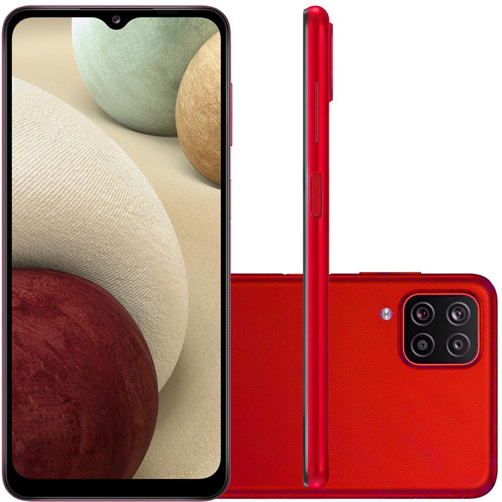 """Celular Samsung Galaxy A12 Vermelho 64GB Tela 6.5"""" 4GB RAM Cam 48MP 5MP 2MP 2MP"""