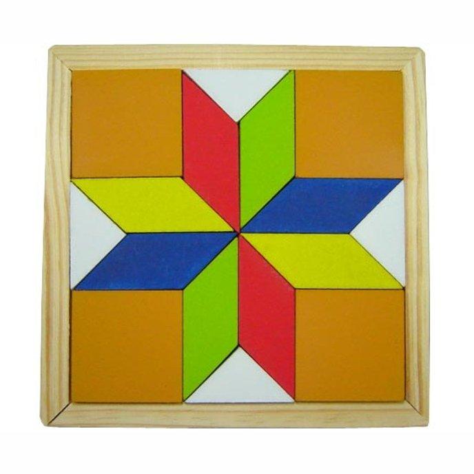Mosaico Quebra Cabeça Colorido - Estrela - Madeira