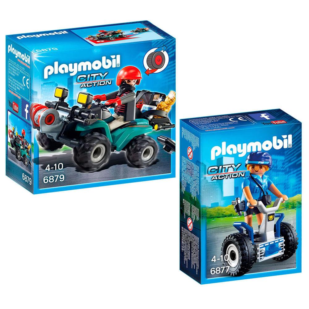 Kit Playmobil - City Action - Trailer da Polícia e Mini Figura Policial com Acessórios - Sunny