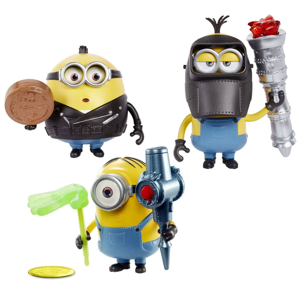Kit de Figuras de Ação - 10 Cm - Minions 2 - Otto, Stuart e Kevin - Mattel