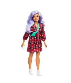 Boneca-Barbie-Fashionista---Curvy---Vestido-Xadrez-Vermelho---Mattel