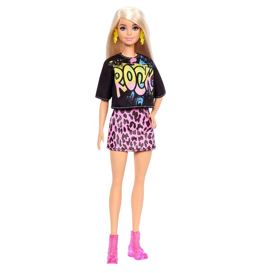 Boneca-Barbie-Fashionista---Loira---Roupa-Rock-com-Saia-de-Oncinha---Mattel
