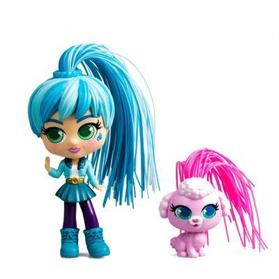 Oferta Mini Boneca - Curli Girls e Mascote - Adeli e Fiji - Novabrink por R$ 137.99