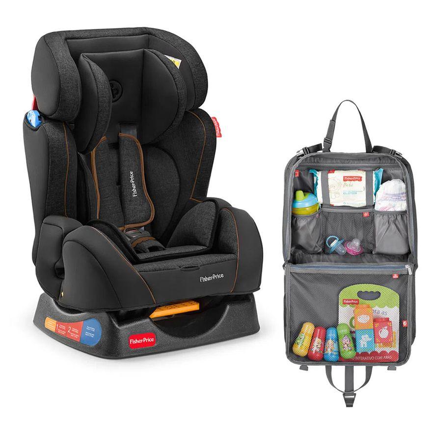 Kit-de-Cadeira-para-Auto---De-0-a-25-Kg---Hug---Preta-com-Organizador-para-Carro---Fisher-Price