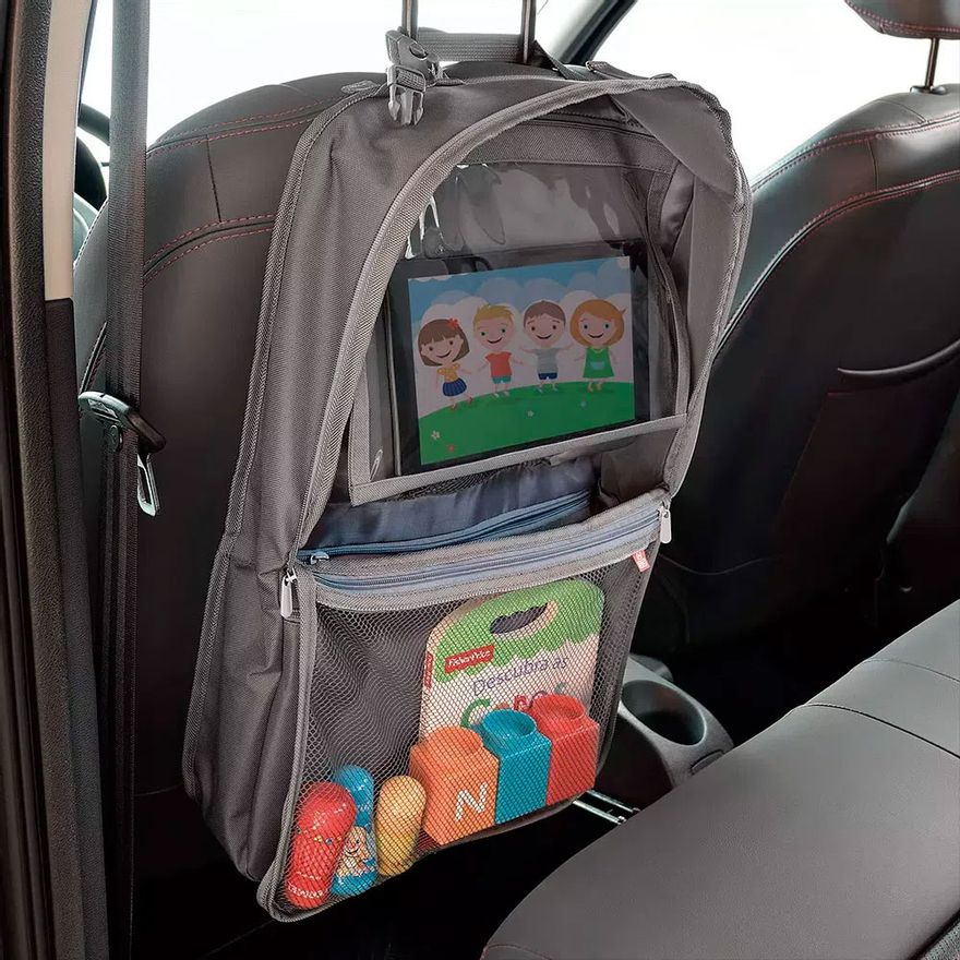 Kit-de-Cadeira-para-Auto---De-0-a-25-Kg---Hug---Cinza-com-Organizador-para-Carro---Fisher-Price