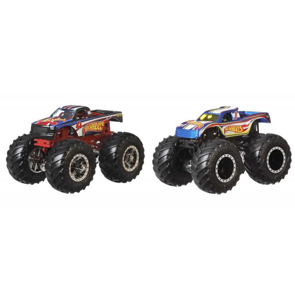 Conjunto de Veículos Hot Wheels - Monster Trucks - Hot Wheels 4 Vs Hot Wheels 1 - Mattel