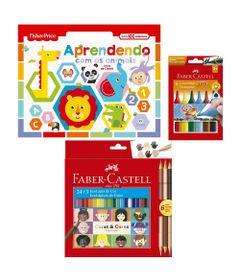 Kit-de-Colorir-com-Livro-Aprendendo-com-os-Animais---Canetinhas-e-Lapis-de-Cor---Faber-Castell