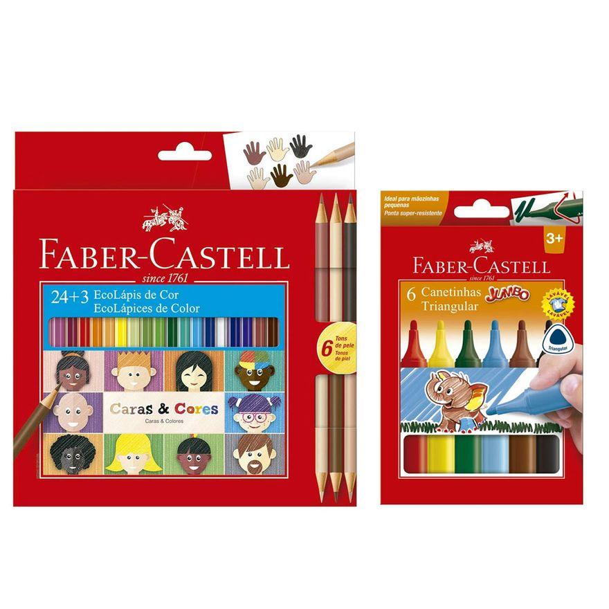 Kit-de-Lapis-de-Cor---24-Cores---3-e-Canetinha-Colorida---Jumbo-Triangular---6-Cores---Faber-Castell