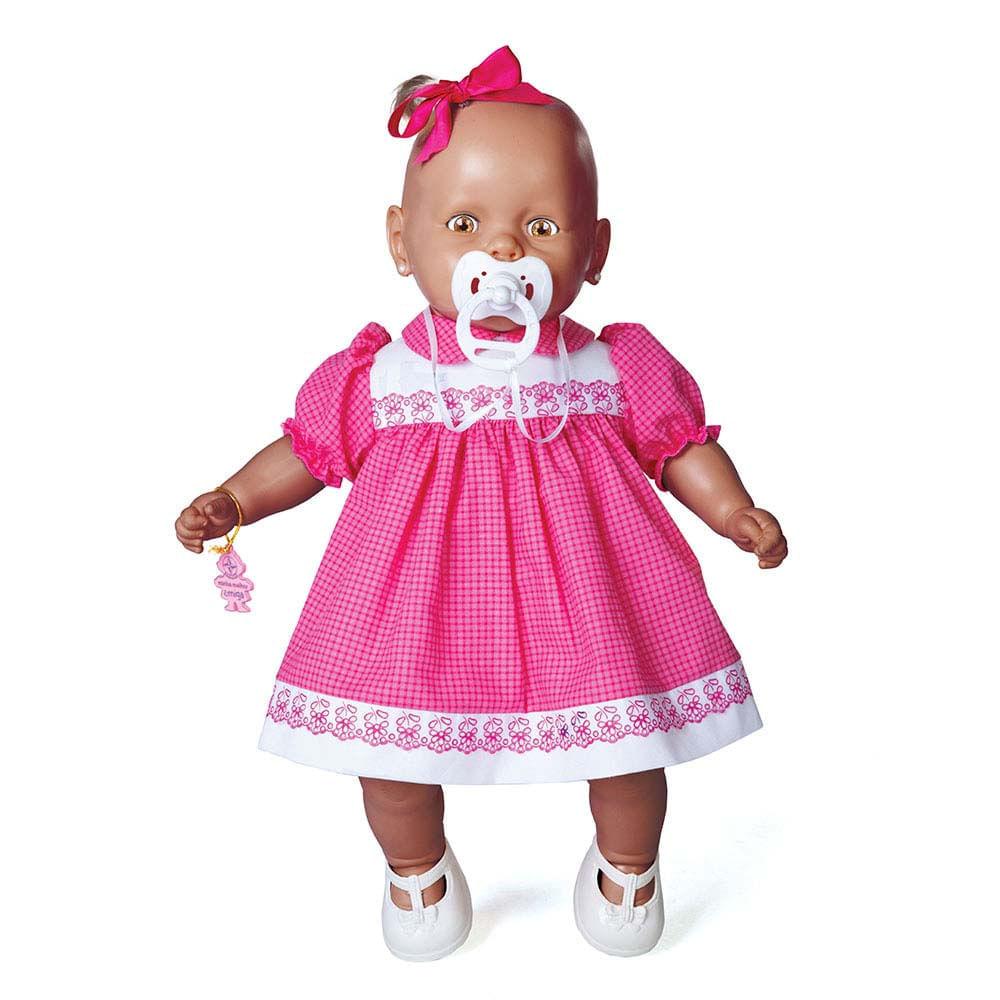 Boneca Nenezinho Negro - Vestido Rosa - Estrela