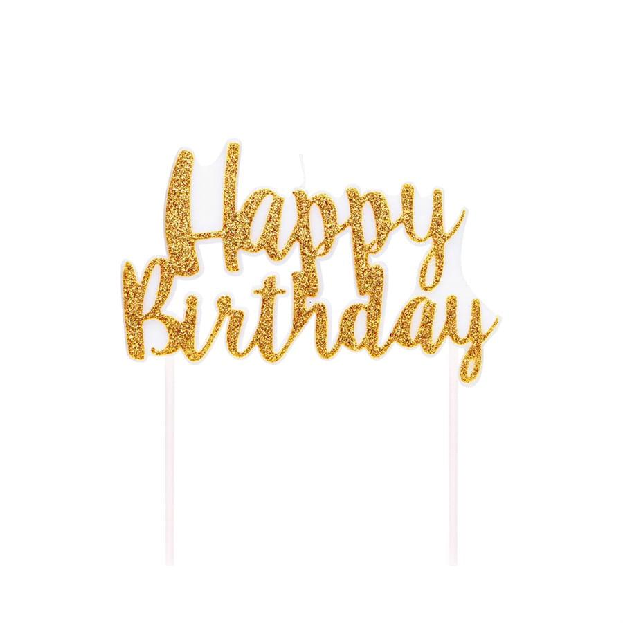 Vela Happy Birthday Dourado Pequeno - 1 Unidade