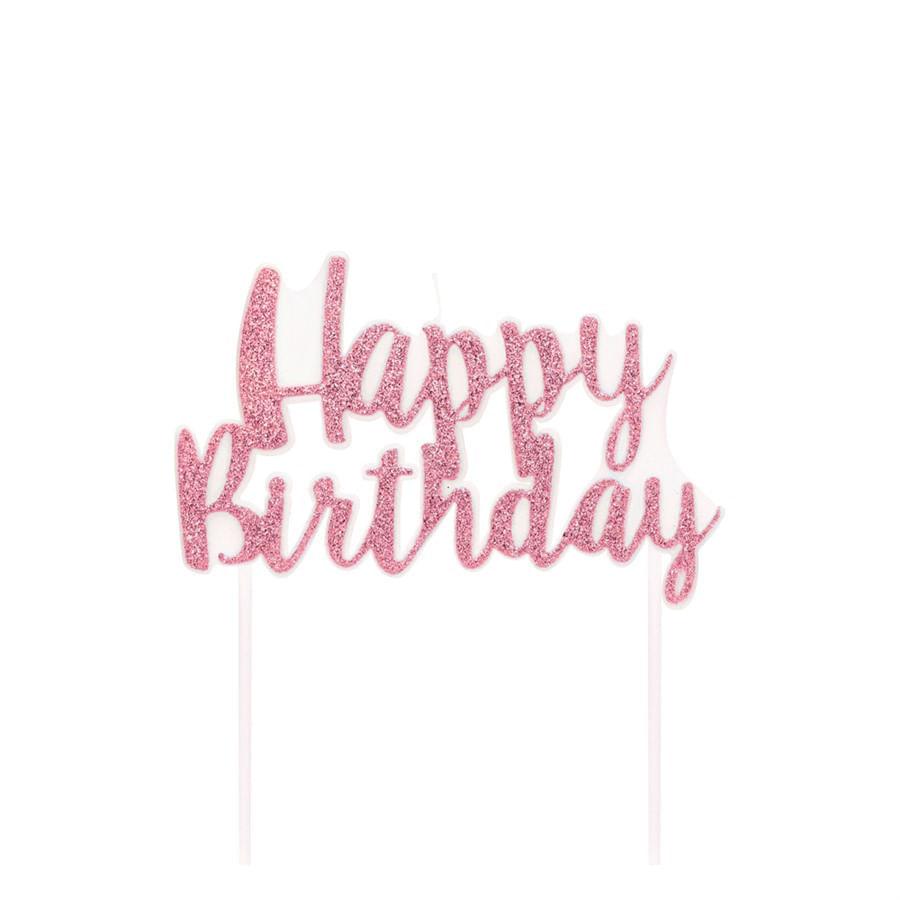 Vela Happy Birthday Rosa Claro Pequeno - 1 Unidade