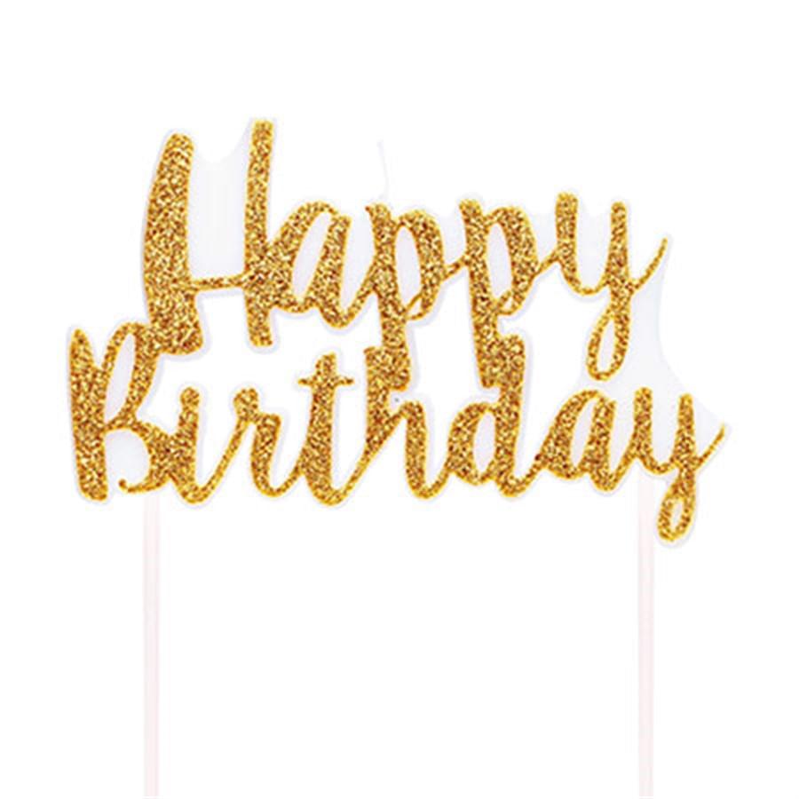 Vela Happy Birthday Dourado M - 1 Unidade