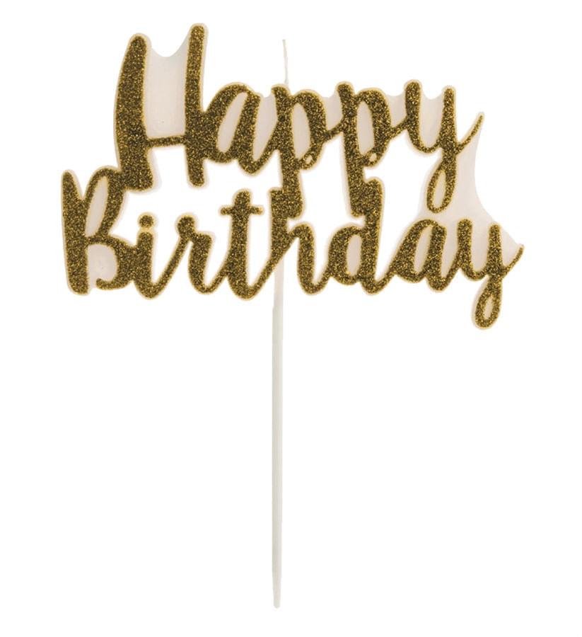 Vela Happy Birthday Glitter Dourada - 1 Unidades