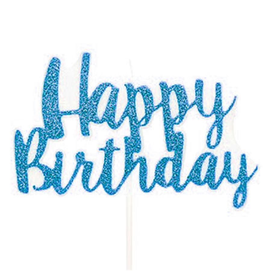 Vela Happy Birthday Azul Claro Grande - 1 Unidade