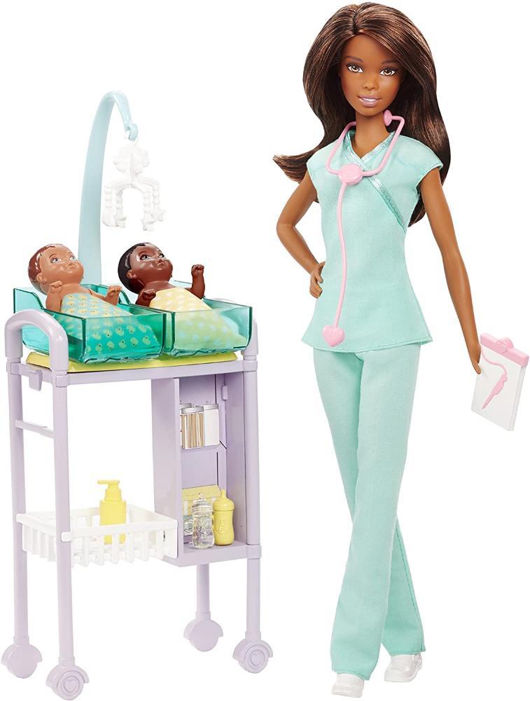 Barbie Boneca Médica Pediatra + 2 Bebe + Acessórios Mattel - Edição Morena