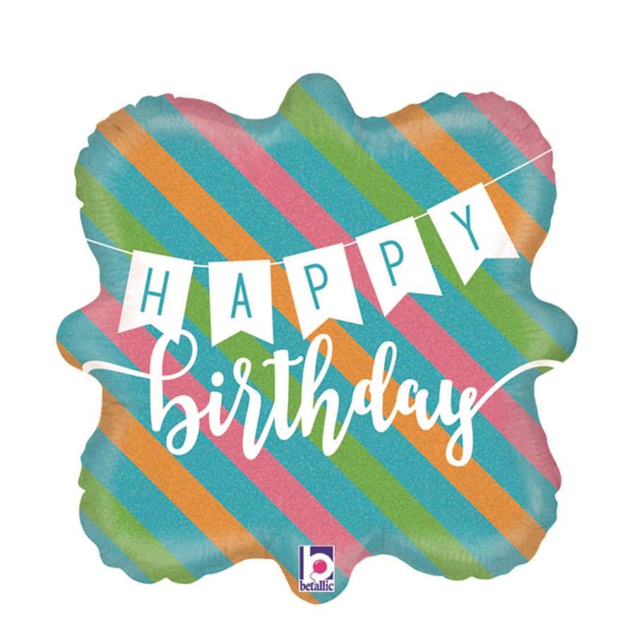 "Balão Metalizado Holográfico Banner Happy Birthday Color Listras 18"" / 45 cm - 1 Unidade"