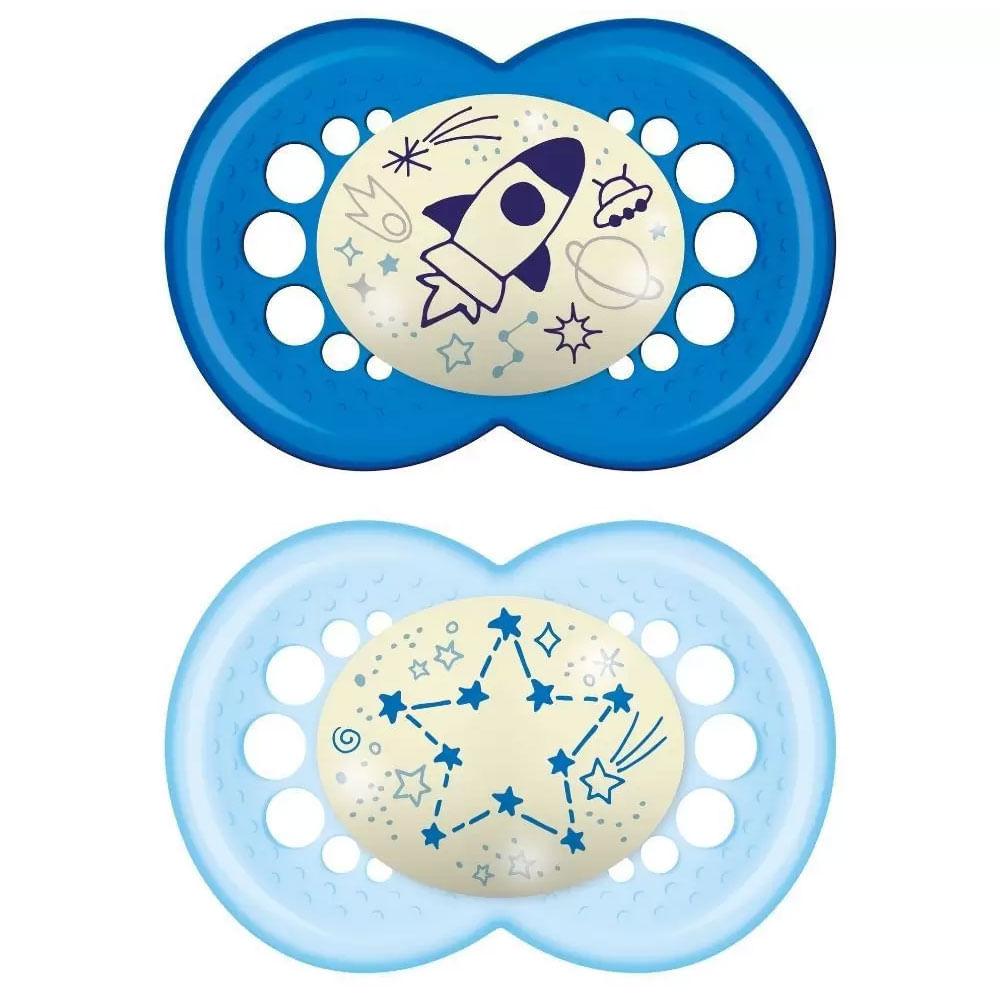 Chupeta de Silicone - Original Night - Boys - Foguete e Estrela - +6 M - Tam 2 - MAM