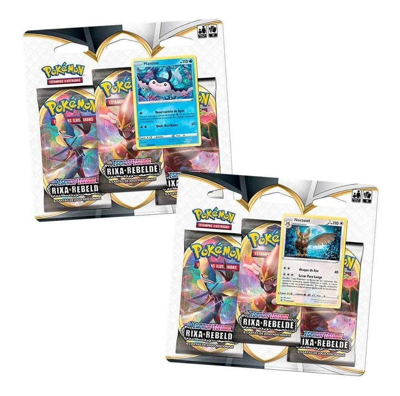 Pokémon 2 Blister Triplo Mantine Noctowl Rixa Rebelde Copag