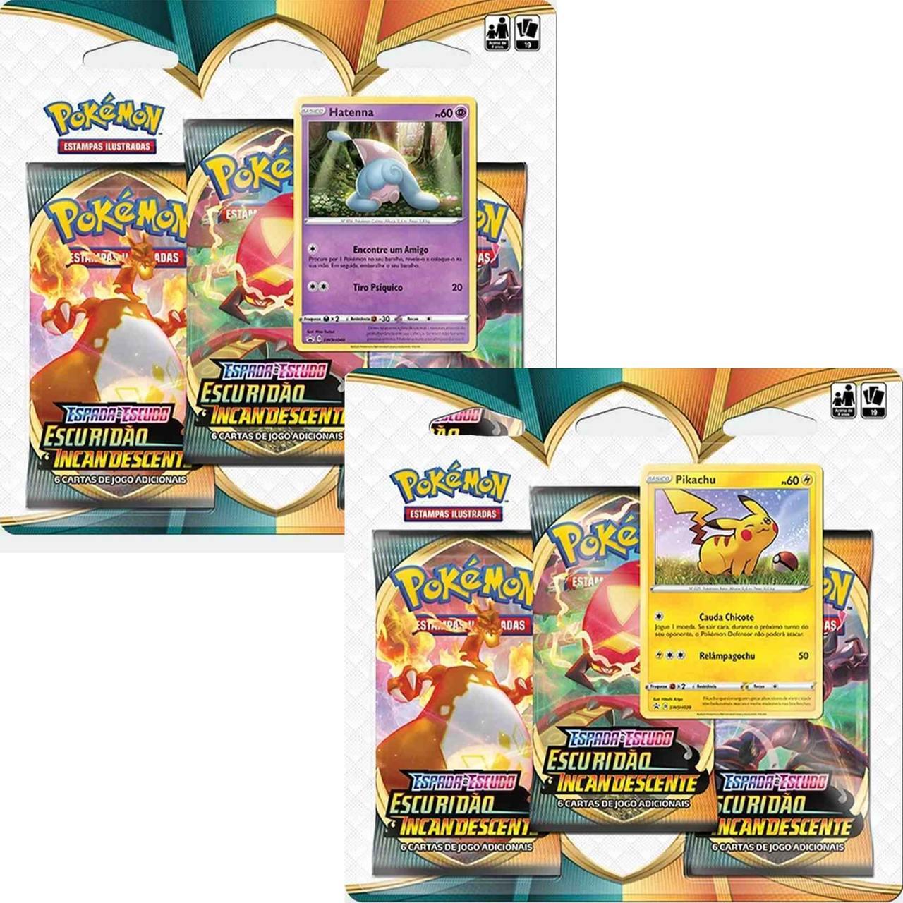 Pokémon - 2 Blister Triplo Hatenna e Pikachu Escuridão Copag