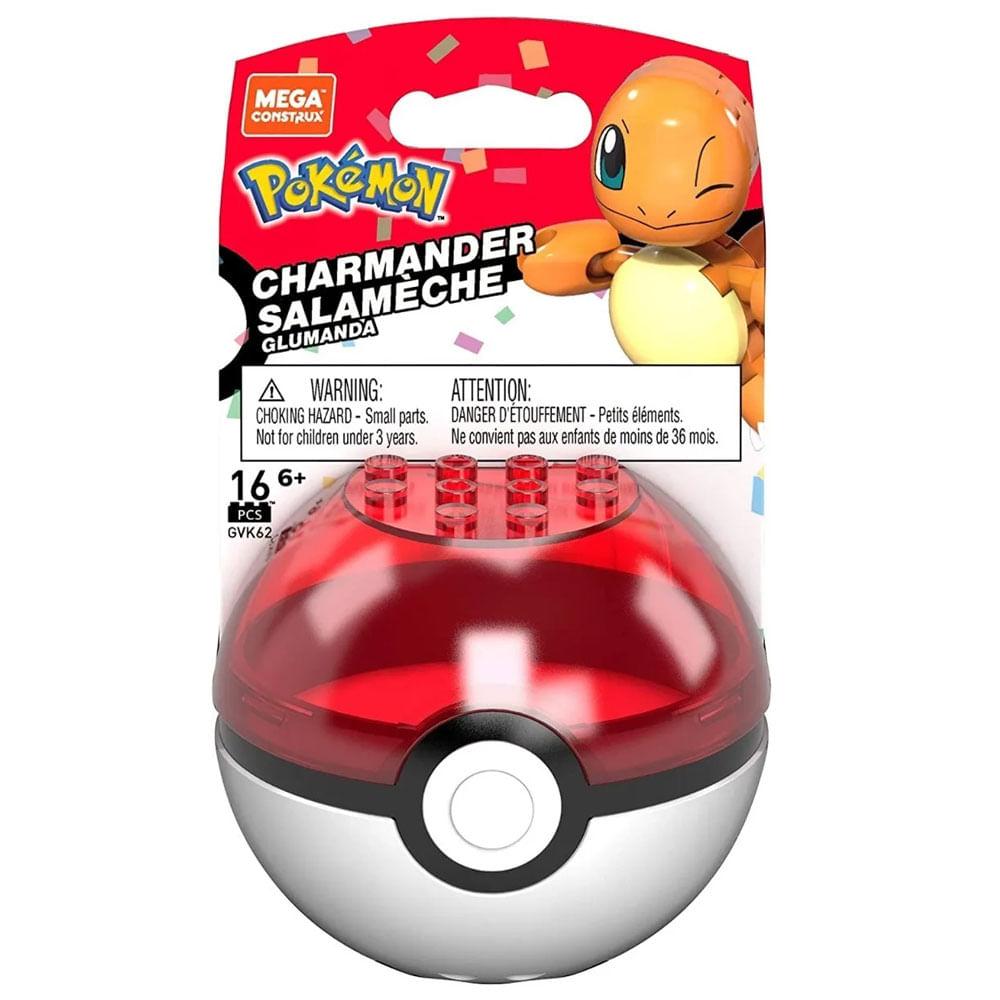 Blocos de Montar - Mega Construx - Pokémon - Pokebola com Charmander - Série 2 - Mattel