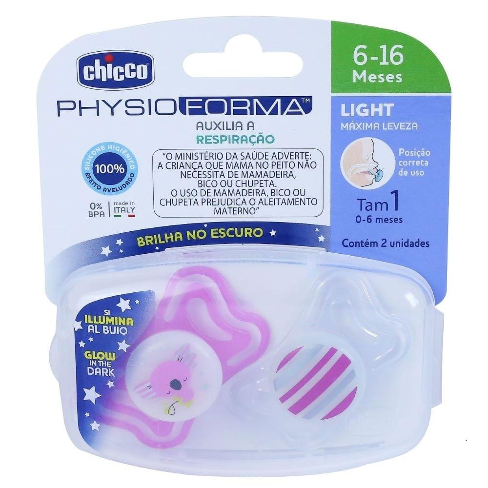 Chupeta de Silicone - Physio Light Lumi -  6 a 16 meses - 2 Peças - Rosa - Chicco
