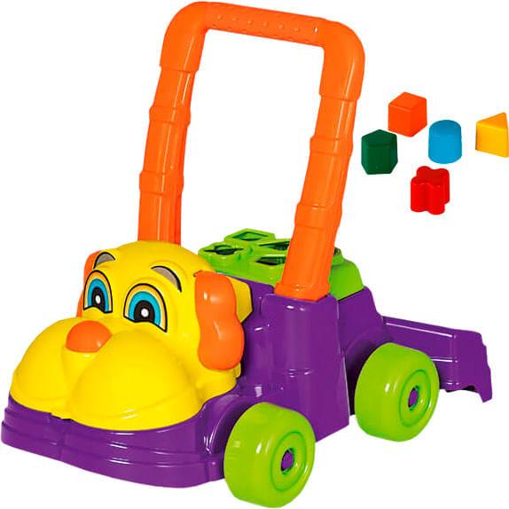 Andador para Bebê Calesita Feliz Cachorro - 5 Acessórios - Roxo/Amarelo/Laranja