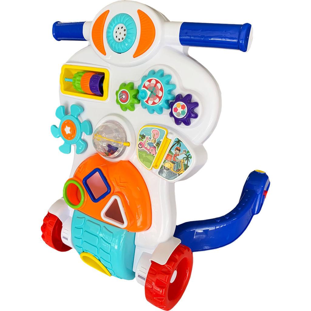 Andador para Bebê Tateti Bebê Piloto - 2 em 1 - Branco/Azul/Vermelho
