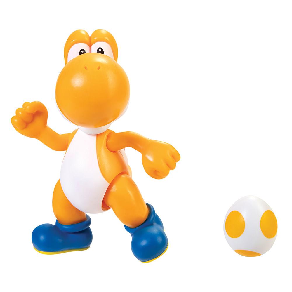 Mini Boneco Colecionável - Orange Yoshi com Egg - Super Mario - Candide