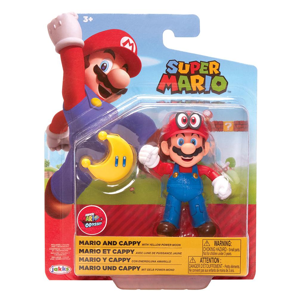 Mini Boneco Colecionável - Mario com Lua Amarela - Super Mario - Candide