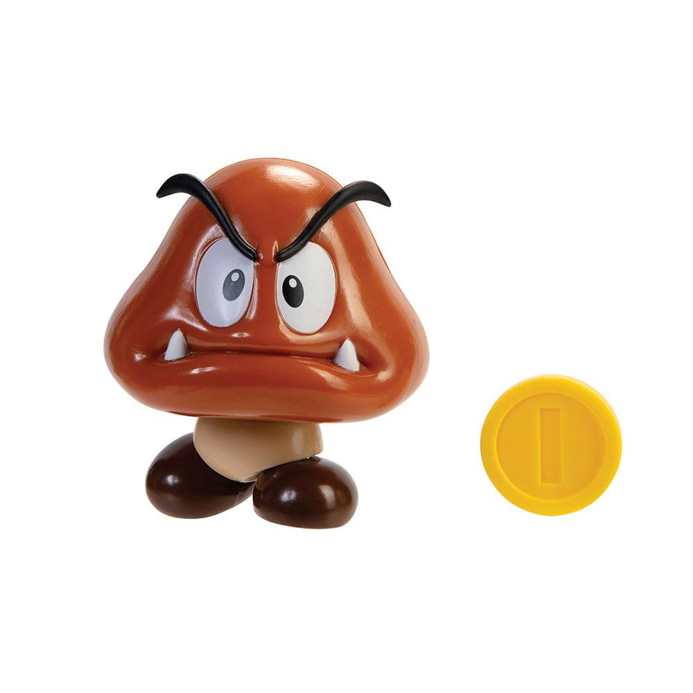 Mini Boneco Colecionável - Goomba com Moeda - Super Mario - Candide