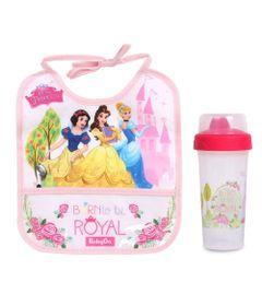 Kit-de-Babador-Decorado-e-Copo-Com-Tampa---340Ml---Princesas-Disney---BabyGo