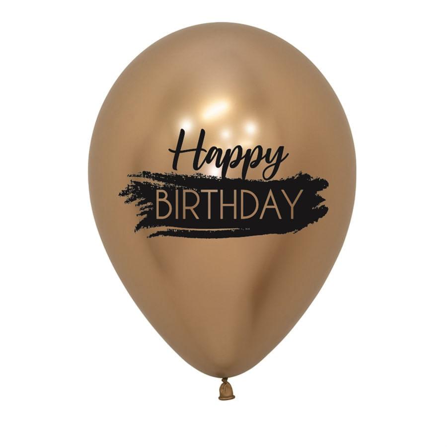 Balão Latex Impressão 2 Lados Reflex Happy Birthday Dourado R12 / 30cm - Pacote com 50 Unidades