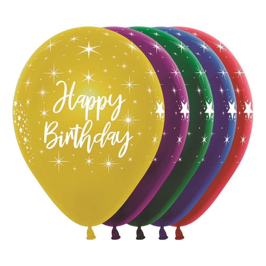 Balão Látex Cristal/Metal Duo Happy Birthday Fant Sortida R12 - 8 Unidades