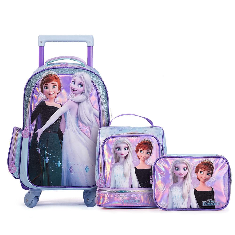 Kit Super Premium Mochila com 4 Rodas Disney Frozen com Lancheira e Estojo Grande