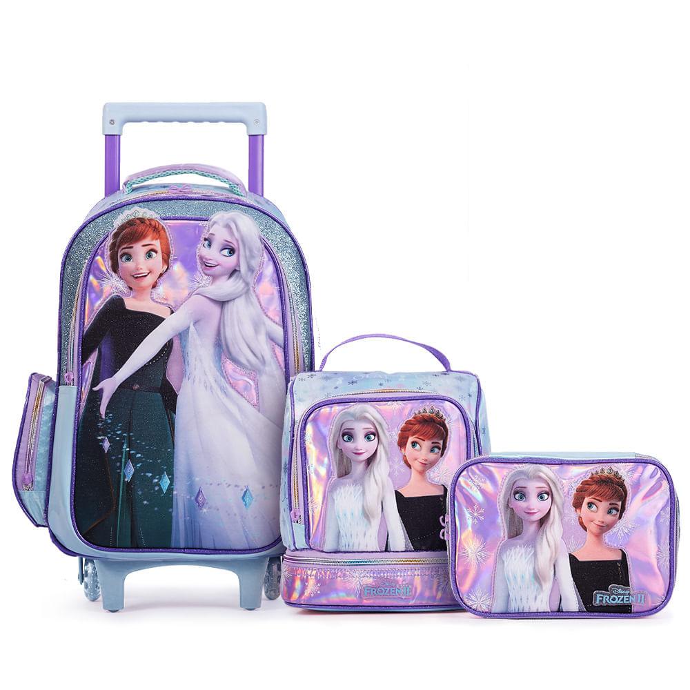 Kit Super Premium Mochila com 2 Rodas Disney Frozen com Lancheira e Estojo Grande