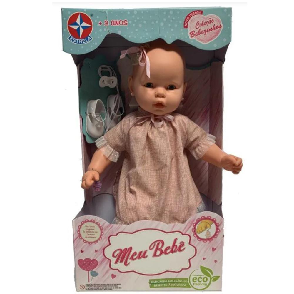 Boneca Estrela Meu Bebê Vestido Rosa Listrado 3+