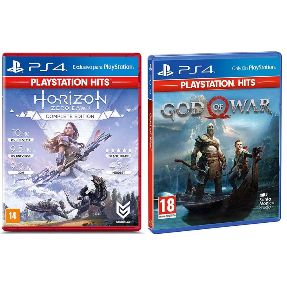 Kit de Jogos PS4 - Horizon Zero Dawn Complete Edition Hits e God of War - Playstation Hits - Sony