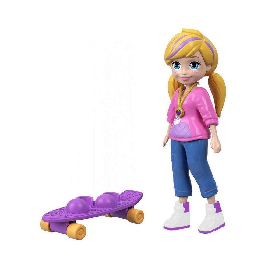 Mini-Boneca-com-Acessorios---Polly-Pocket---Polly-com-Skate---Mattel_Frente