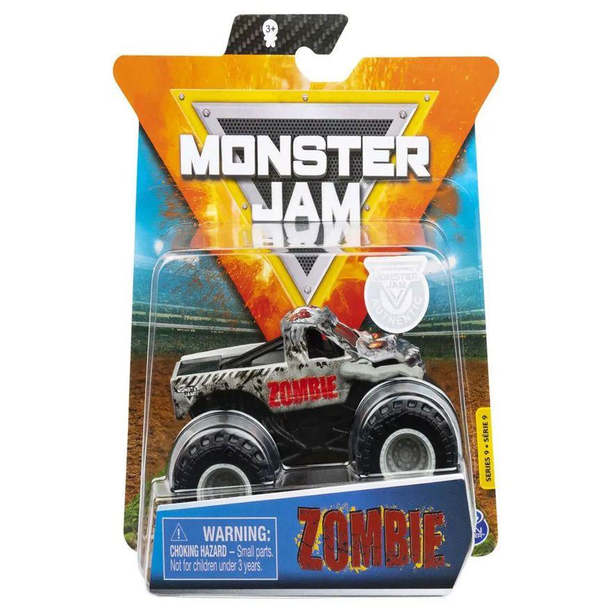 Mini-Veiculo-e-Figura---164---Monster-Jam---Zombie---Branco-e-Preto---Sunny_Frente