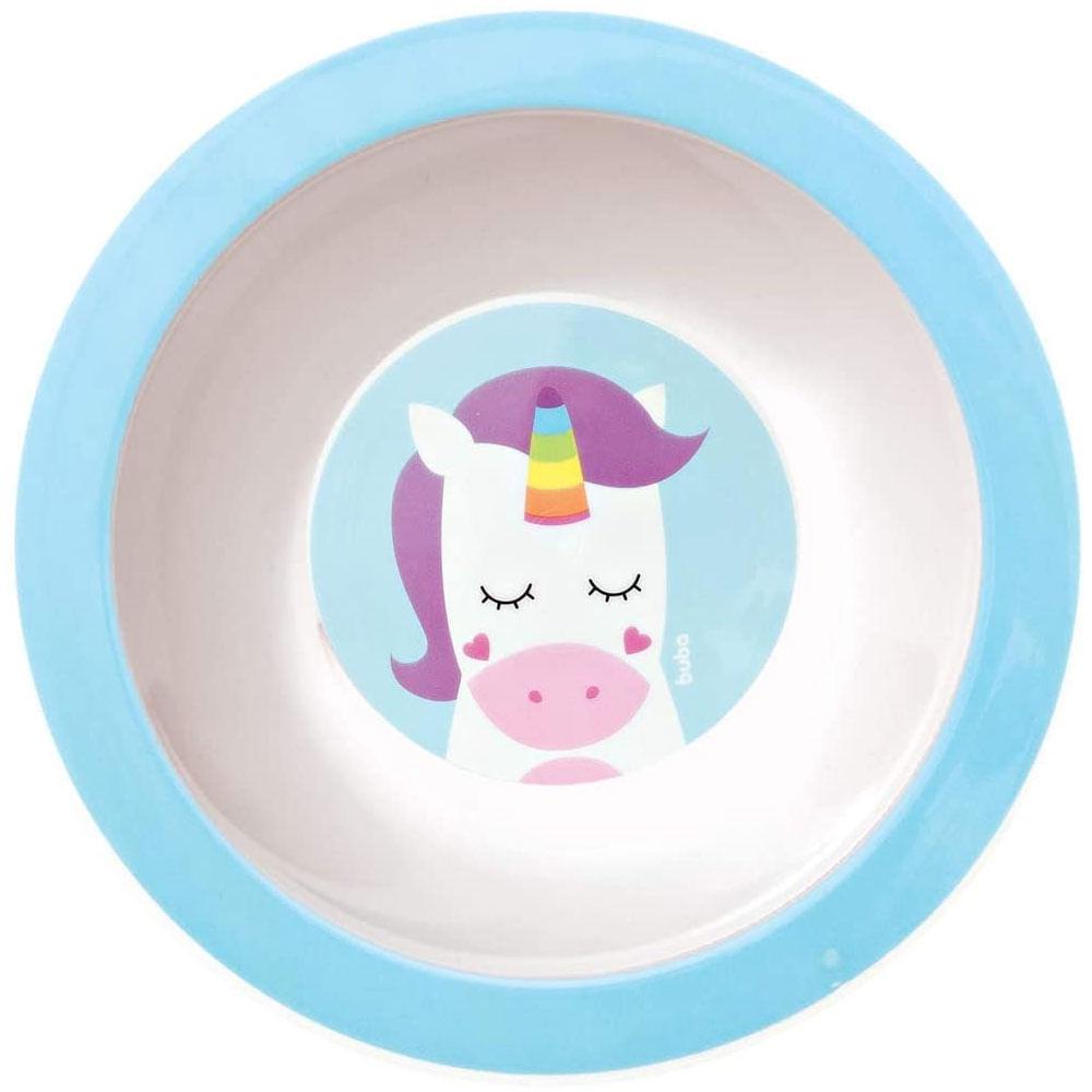 Pratinho Bowl - Animal Fun - Unicórnio - Borda Azul - Buba